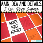Main Idea Centers - Main Idea Games