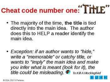 Main Idea Cheat Codes!