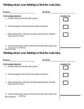 Main Idea Checklist