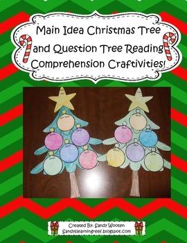 Main Idea Christmas Tree & Question Tree Comprehension Book Craftivities!
