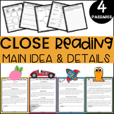 2nd GRADE Main Idea Close Reading Passages with Comprehension Questions