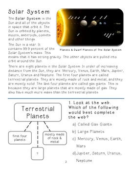 solar system reading comprehension - photo #18