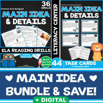 SAVINGS BUNDLE: Main Idea & Details (23 ELA Reading Drills | 44 Task Cards)