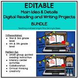 Main Idea & Details Digital Reading Projects Bundle - Dist