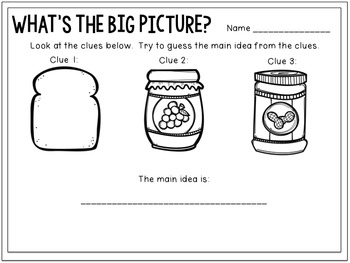Main Idea & Details in Pictures & Texts: Flipchart & Worksheets