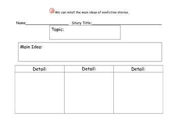 Main Idea & Details - Graphic Organizers for Nonfiction