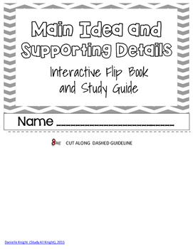 Main Idea & Details Interactive Flip Book for ELA