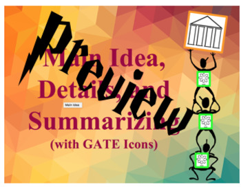 Main Idea, Details, Summary with GATE Icons