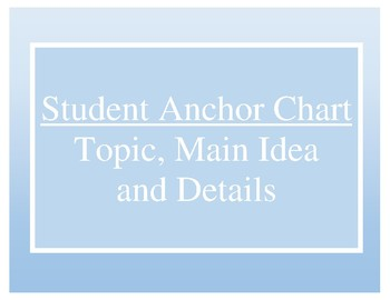 Student Anchor Chart for Topic, Main Idea, Details