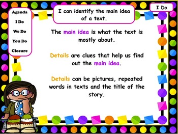 Main Idea & Details in Pictures & Texts: PowerPoint & Worksheets