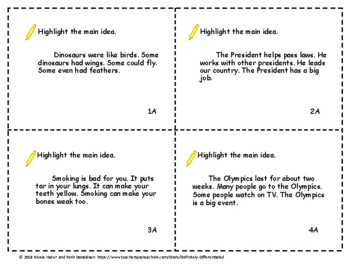 Main Idea Differentiated Task Cards