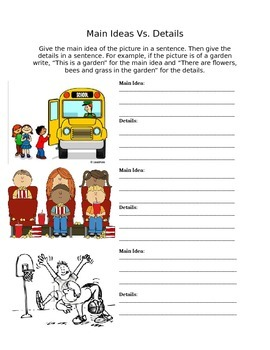 Main Idea Differentiated Worksheet for ELLs