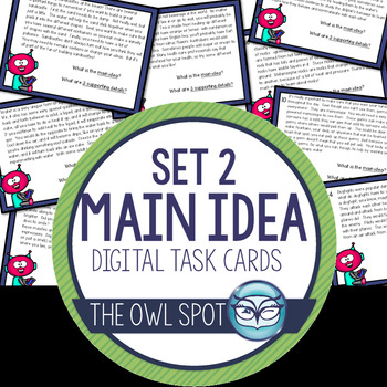 Main Idea Digital Task Cards set 2 Test Prep