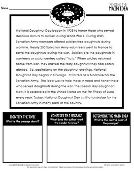 Main Idea Doodle Notes and Activities - Main Idea Reading Passages