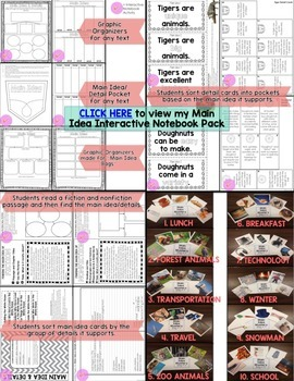 Main Idea FREEBIE Interactive Notebooks