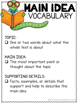 Main Idea FREEBIE ~ Reading Comprehension Anchor Charts ~ RTI ~ Intervention