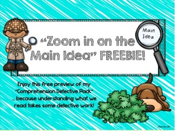Main Idea FREEBIE! comprehension strategy poster and activities