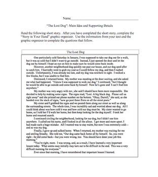 Main Idea Fiction Lesson