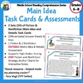 Main Idea Fiction and Nonfiction Task Cards and EDITABLE A