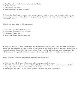 Main Idea - Finding and Examining the Main Idea