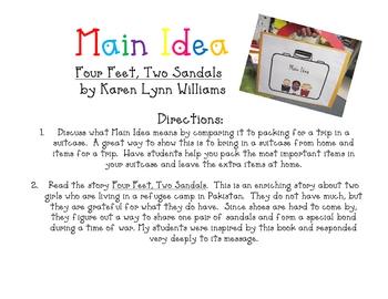 Main Idea-Four Feet, Two Sandals, by Karen Lynn Williams