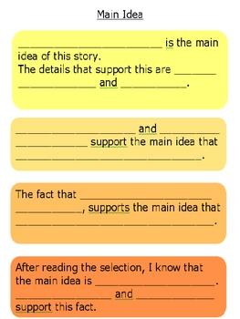 Main Idea Frontloading Chart