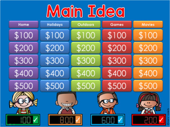 * Main Idea - Jeopardy style game show