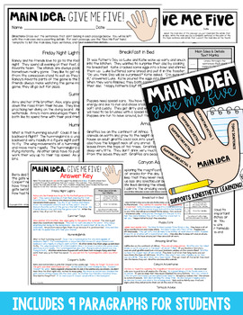 Finding the Main Idea: Activities for Main Idea & Supporting Details