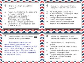 Main Idea Government Task Cards - 3rd Grade FSA Style