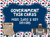 Main Idea Government Task Cards - 3rd Grade FSA Style