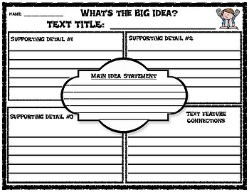 Main Idea Graphic Organizer with Text Feature Connections