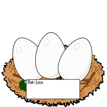 """Main Idea Graphic Organizer Chicken, Egg, Nest (used with""""Get the Egg"""")"""