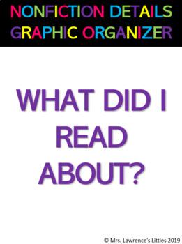 Main Idea Graphic Organizer - Details Graphic Organizer -Story Graphic Organizer