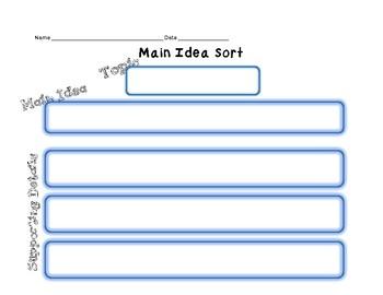 Main Idea Graphic Organizer Sort
