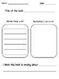 Main Idea Graphic Organizer for Kindergarten!