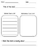 Main Idea Graphic Organizer for Kindergarten!