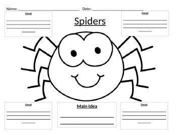 Main Idea Graphic Organizer on Spiders