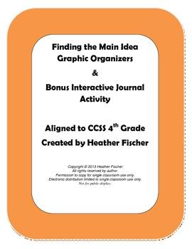 Main Idea Graphic Organizers & Bonus Interactive Journal Activity