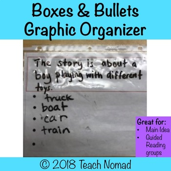 Main Idea Graphic Organzier - Boxes and Bullets