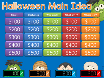 main idea halloween jeopardy style game show