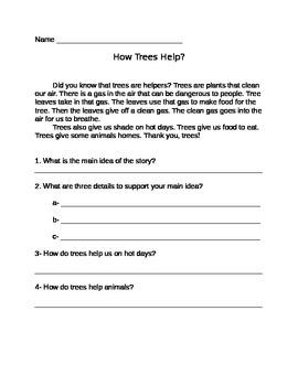 Main Idea- How trees help