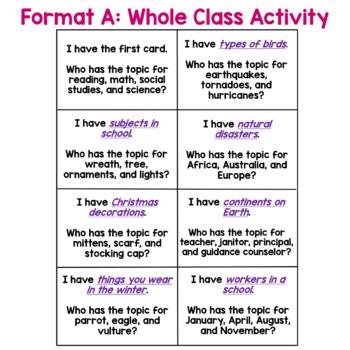 Main Idea I Have... Who Has:    Whole Class Activity game