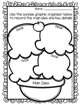 Main Idea Ice Cream Sundaes Activity Pack
