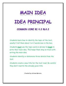 Main Idea - Idea Principal & new title - darle un título nuevo