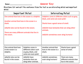 Main Idea : Important Vs. Interesting Details