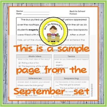 Main Idea, Inferences, Sequencing & Vocabulary in Middle School Speech Therapy 3