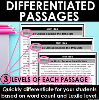 Main Idea -  Informational Text - Reading Comprehension Passages and Questions