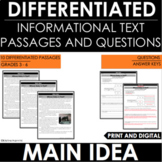 Main Idea -  Informational Text - Reading Comprehension Pa