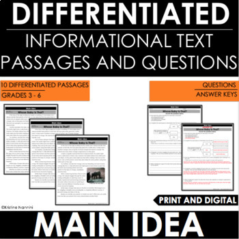 Main Idea and Supporting Details - Reading Comprehension Passages and Questions