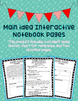 Main Idea Interactive Notebook Page